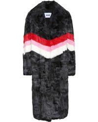 MSGM - Striped Fur Coat - Lyst