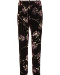 Co. - Floral-printed Velvet Trousers - Lyst