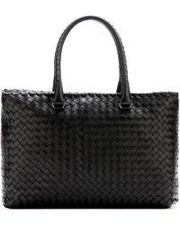 Bottega Veneta - Brick Intrecciato Leather Tote - Lyst