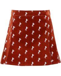 Chloé | Velvet Embroidered Miniskirt | Lyst