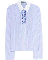 Prada - Ruffled Cotton Shirt - Lyst