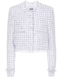 MSGM - Tweed Cotton-blend Cardigan - Lyst
