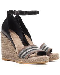 Brunello Cucinelli - Leather Espadrille Wedge Sandals - Lyst