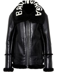 fc5643d47dd3e Balenciaga Shearling-lined Leather Jacket in Brown - Lyst