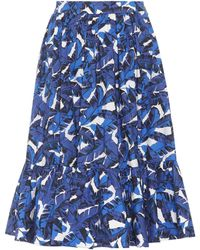 MSGM - Printed Cotton Midi Skirt - Lyst