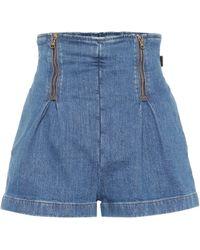 Versace - Shorts de jeans de tiro alto - Lyst