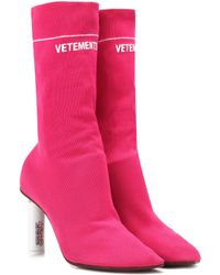Vetements Stretch-jersey Ankle Boots - Pink
