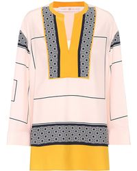 Tory Burch - Aston Printed Silk Tunic Top - Lyst