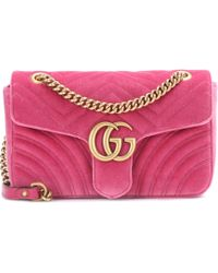 0e6ff6c850ae Gucci Gg Marmont Medium Velvet Crossbody Bag in Pink - Lyst