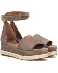 Chloé - Lauren Suede Platform Sandals - Lyst