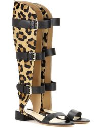 Francesco Russo - Leather And Printed Calf Hair Gladiator Sandals - Lyst