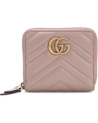 32670173f5e Gucci Gg Marmont Matelassé Leather Chain Wallet in White - Lyst