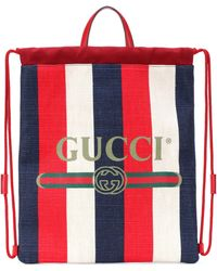 Gucci - Striped Drawstring Backpack - Lyst 0e4f304089