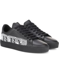 Burberry - Printed Leather Sneakers - Lyst