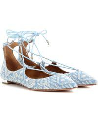 Aquazzura - Christy Emroidered Flat Ballerinas - Lyst