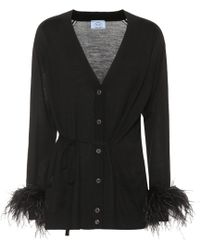 Prada - Feather-trimmed Wool Cardigan - Lyst