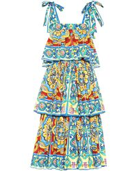 Dolce & Gabbana Tiered Printed Stretch Cotton Dress