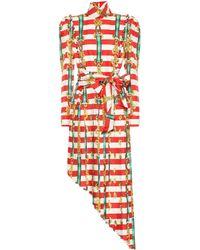 f684b138f9f Gucci Beach Ball Print Silk Pleated Dress in Blue - Lyst
