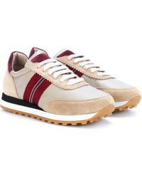 Brunello Cucinelli - Suede And Satin Trainers - Lyst