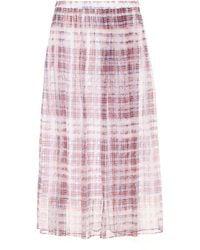 Burberry - Checked Silk-chiffon Skirt - Lyst