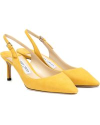 03375af850a Jimmy Choo Tide Patent-Leather Kitten-Heel Slingbacks in Natural - Lyst