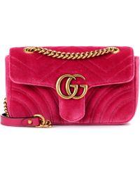 dd5895d7b51 Lyst - Gucci GG Marmont Velvet Shoulder Bag in Natural