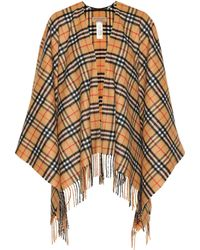 01bca838d Burberry - Vintage Check Cashmere And Wool Poncho - Lyst