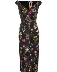 N°21 - Floral-printed Satin Dress - Lyst