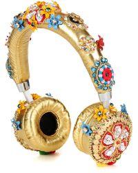 Dolce & Gabbana - Exclusive To Mytheresa. Com – Embellished Metallic Leather Headphones - Lyst