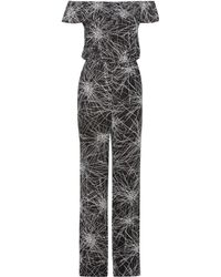 Diane von Furstenberg - Adele Black Printed Jumpsuit - Size 8 - Lyst