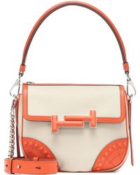 Tod's - Double T Leather-trimmed Shoulder Bag - Lyst
