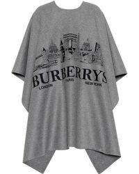 Burberry - Poncho de cachemir con bordado - Lyst