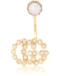 Gucci - Running G 18kt Gold Single Earring With Diamonds And Pearl - Lyst