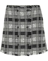 Thom Browne - Checked Wool-blend Miniskirt - Lyst