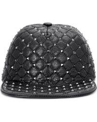 Valentino - Rockstud Leather Hat - Lyst