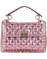 Valentino - Garavani Rockstud Spike Metallic Leather Shoulder Bag - Lyst