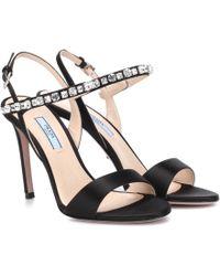 Prada - Embellished Satin Sandals - Lyst