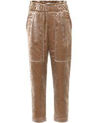 Brunello Cucinelli - Cropped Velvet Trousers - Lyst