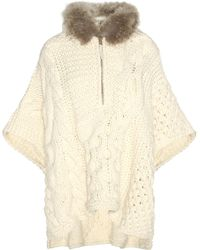 Woolrich - Wool And Alpaca-blend Sweater With Fur - Lyst