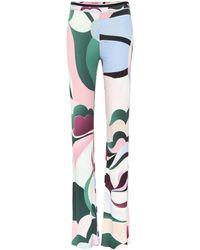 Emilio Pucci - Printed Silk-blend Trousers - Lyst