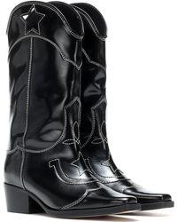 Ganni - Stiefel High Texas aus Leder - Lyst