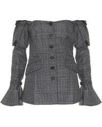 Jonathan Simkhai - Plaid Wool Off-the-shoulder Blazer - Lyst