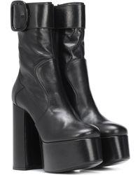 Saint Laurent - Billy Platform Leather Ankle Boots - Lyst