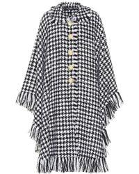 Dolce & Gabbana - Houndstooth Wool-blend Cape - Lyst