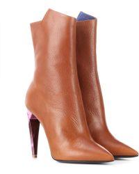 Saint Laurent - Freja 105 Leather Ankle Boots - Lyst