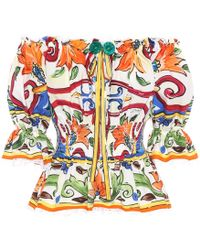2d85a82ec87 Dolce   Gabbana - Majolica Printed Cotton Top - Lyst