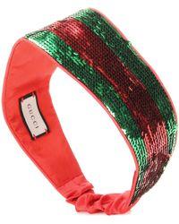 Gucci - Striped Sequinned Silk Headband - Lyst