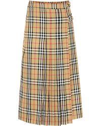 Burberry - Check Wool Skirt - Lyst