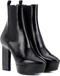 Saint Laurent - Vika 95 Leather Plateau Ankle Boots - Lyst