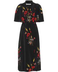 Valentino Printed Silk Wrap Dress - Black